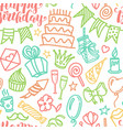 birthday party doodle seamless pattern vector image