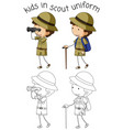 boy scout character on white background vector image vector image