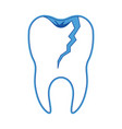 broken tooth with root in blue silhouette vector image