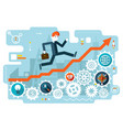 businessman running to success on infographic vector image