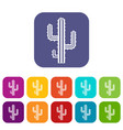cactus icons set flat vector image vector image