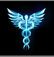 caduceus crystal symbol on black background vector image
