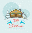 christmas greeting card with a house vector image vector image