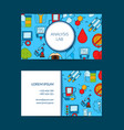 colored diabetes icons business card vector image vector image