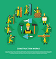 construction worker green composition vector image vector image