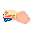 credit cards in hand e-commerce single icon in vector image vector image