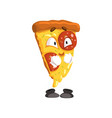 cute smiling slice of pizza funny cartoon fast vector image vector image