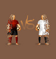 dark red and white soccer players holding vintage vector image vector image