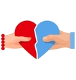 Female and male hand holding heart symbol of love vector image vector image