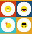 flat icon expression set of grin happy cheerful vector image vector image