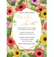 flower sample of wedding invitation greeting vector image
