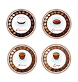 Four Kind of Coffee Drink in Retro Round Label vector image vector image