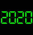 green electronic digits 2020 on black background vector image vector image