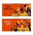 Halloween banners set on orange background vector image