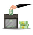 hand putting dollar banknote in shredder machine vector image vector image