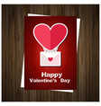 happy valentines day card with wooden background vector image vector image