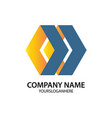 hexagon business logo vector image vector image