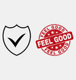 line valid shield icon and grunge feel good vector image vector image