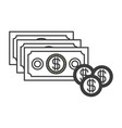 monochrome silhouette with money bills and coins vector image vector image