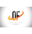 of o f letter logo with fire flames design and vector image vector image