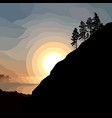 painted silhouette of a mountain with trees vector image