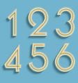 retro numbers volumetric numbers vector image