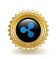 ripple cryptocurrency coin gold badge vector image