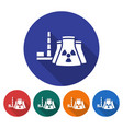 round icon of nuclear power plant flat style with vector image