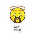 saint emoji line icon sign vector image