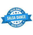salsa dance ribbon salsa dance round blue sign vector image vector image