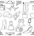 seamless doodle wedding pattern vector image