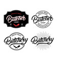 set butcher shop and butchery lettering logo vector image vector image