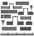 Set of black fences with gates vector image vector image
