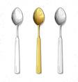 Set realistic sketch spoons Cutlery for design vector image vector image