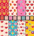 Set Seamless Patterns for Valentines Day vector image