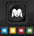 smiling girl icon symbol Set of five colorful vector image vector image