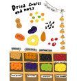 street market sketch dried fruits and nuts vector image
