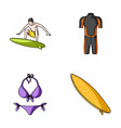 surfer wetsuit bikini surfboard surfing set vector image vector image