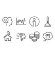 tips plunger and good mood icons push cart vector image