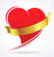 valentines day love heart with gold ribbon vector image vector image