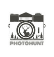 vintage hipster camera with deer silhouette vector image