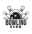 vintage monochrome style bowling logo icon vector image vector image