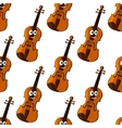 Violin cartoon character seamless pattern vector image