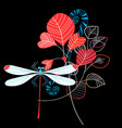 vivid summer leaves and dragonfly vector image vector image