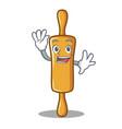waving rolling pin character cartoon vector image