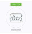 Wedding rings icon Jewelry with diamond sign vector image