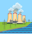 working nuclear power plant near tower set along vector image vector image