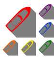 boat sign set of red orange yellow green blue vector image