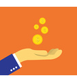 Coins on the palm vector image