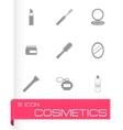 black cosmetics eyes icons set vector image